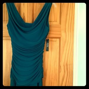 Nightway Ruched gathered green teal Formal Dress